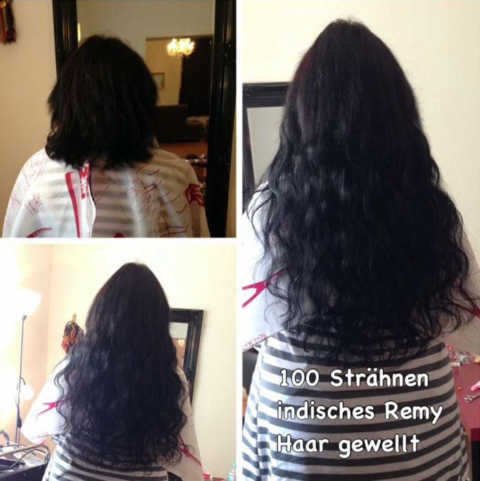 Haarverlängerung mit inidschem Echthaar