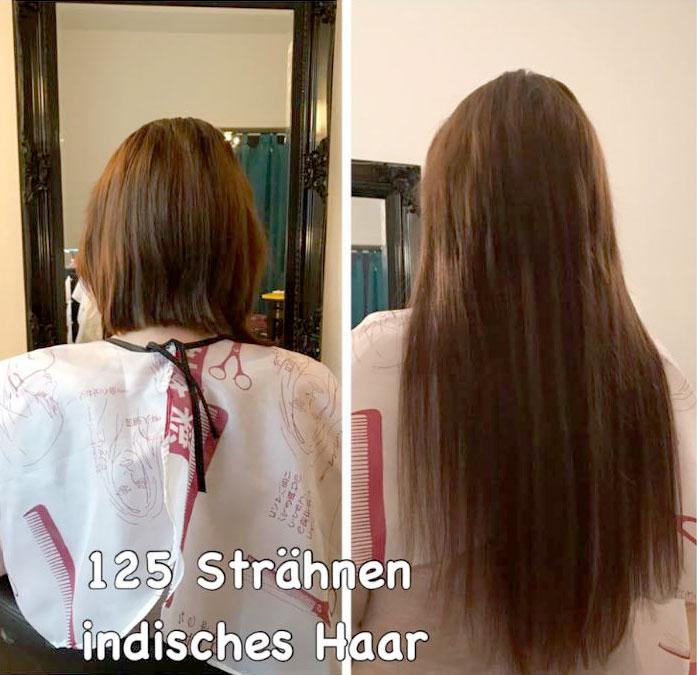Haarverlängerung mit 125 Strähnen indisches Echthaar