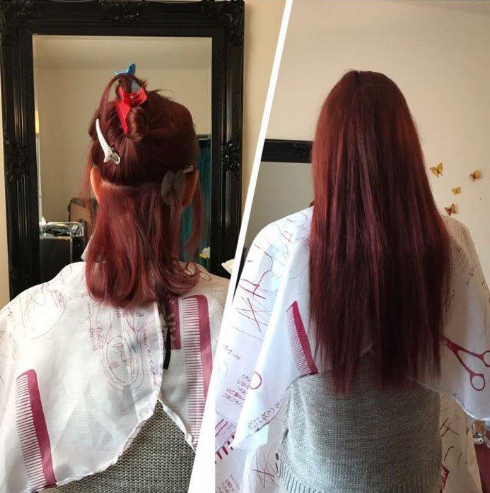 Haarverlängerung mit roten Haaren