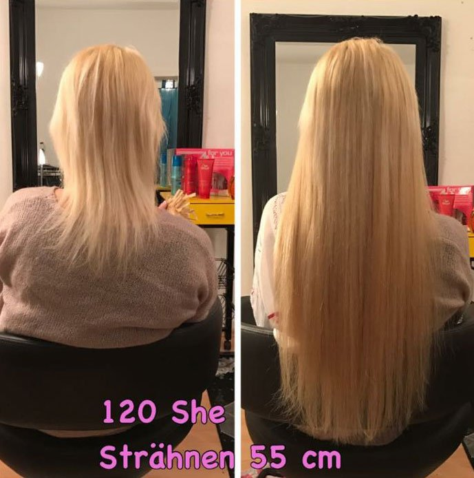 Haarverlängerung mit 55 cm Strähnen